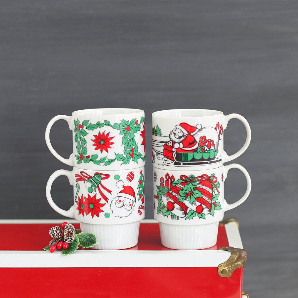 Sold Mid Century Stacking Christmas Mugs Wise Apple Vintage