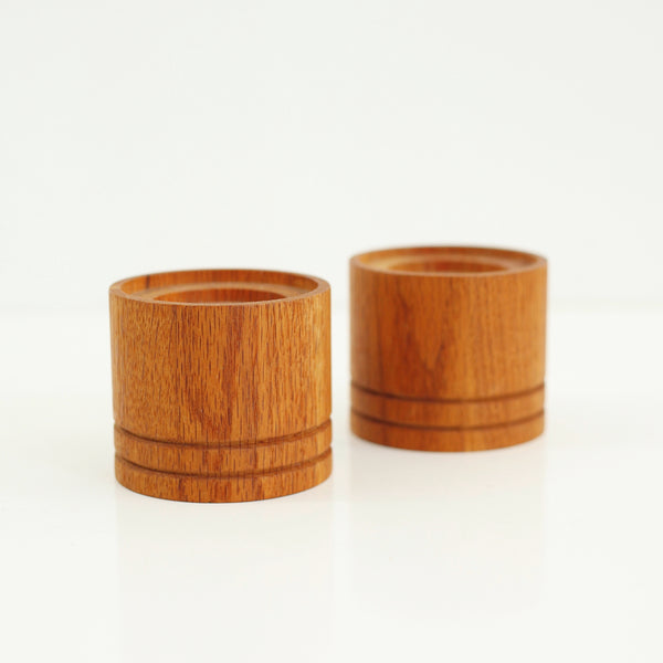 SOLD - Vintage Turned Wood Candle Holders