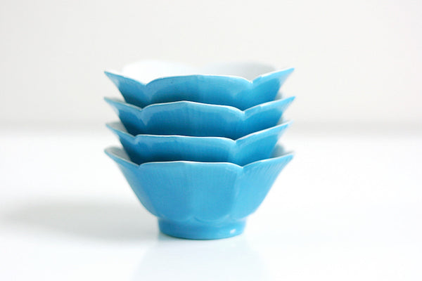 SOLD - Vintage Set of Four Turquoise Blue Porcelain Lotus Bowls