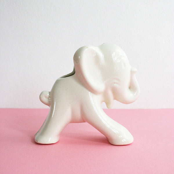 SOLD - Vintage Ceramic Elephant Planter / 1940s Uhl Pottery White Elephant Vase