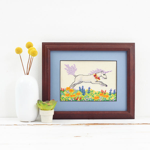 SOLD - Vintage Framed Unicorn Cross Stitch