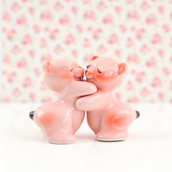 Vintage Pink Hugging Bears Salt & Pepper Shakers