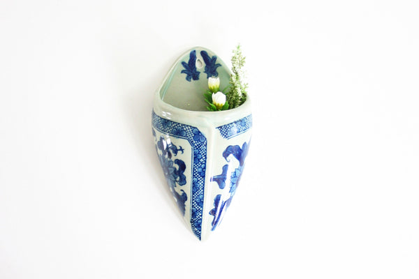 SOLD - Vintage Victoria Ware Ironstone Transferware Wall Pocket