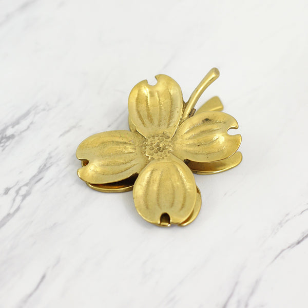 SOLD - Vintage Virginia Metalcrafters Dogwood Blossom Brass Clip