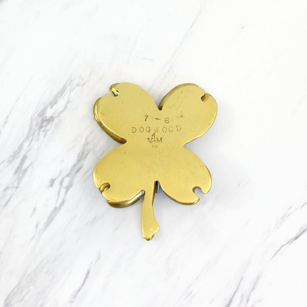 Vintage Virginia Metalcrafters Dogwood Blossom Brass Clip