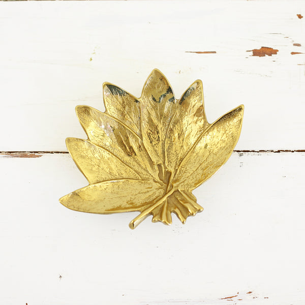 SOLD - Vintage Virginia Metalcrafters Sage Leaf Brass Dish