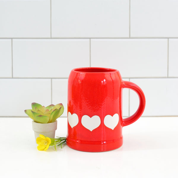 SOLD - Vintage Waechtersbach Red Hearts Stein