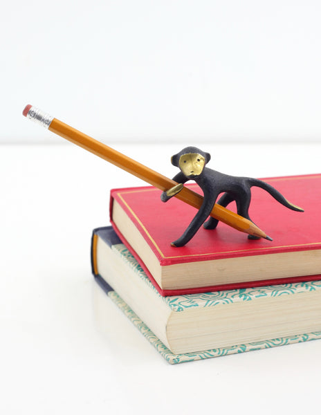 SOLD - Rare Mid Century Monkey Pen Holder by Walter Bosse