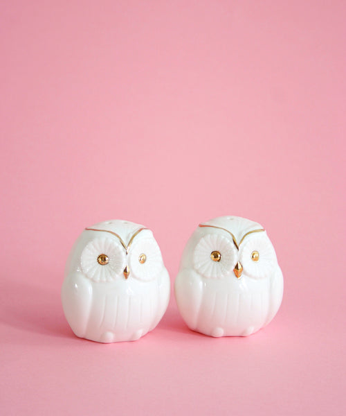 SOLD - Vintage White and Gold Ceramic Owl Salt and Pepper Shakers