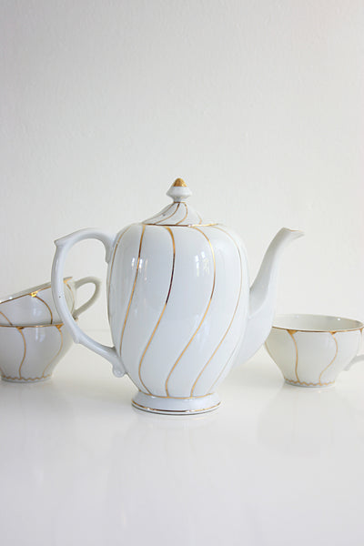 SOLD - Vintage White and Gold Porcelain Tea Set / Mid Century Tea Service from Japan