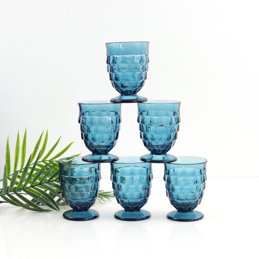 SOLD - Vintage Whitehall Pedestal Glasses in Riviera Blue