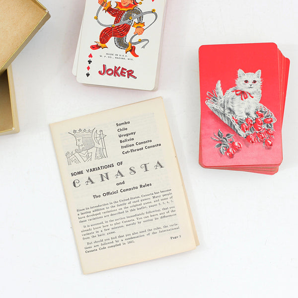 SOLD - Vintage Pink & Red Kitten Playing Cards