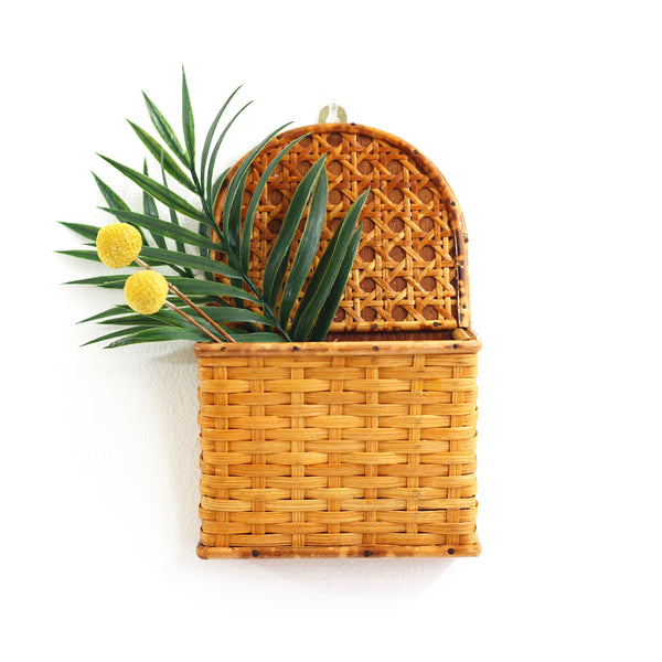 SOLD - Vintage Rattan and Wicker Wall Pocket