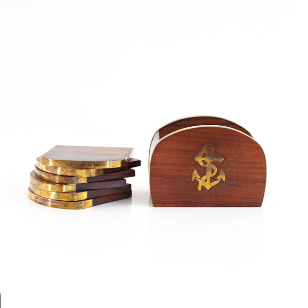 Vintage Wood and Brass Anchor Drink Coasters Set