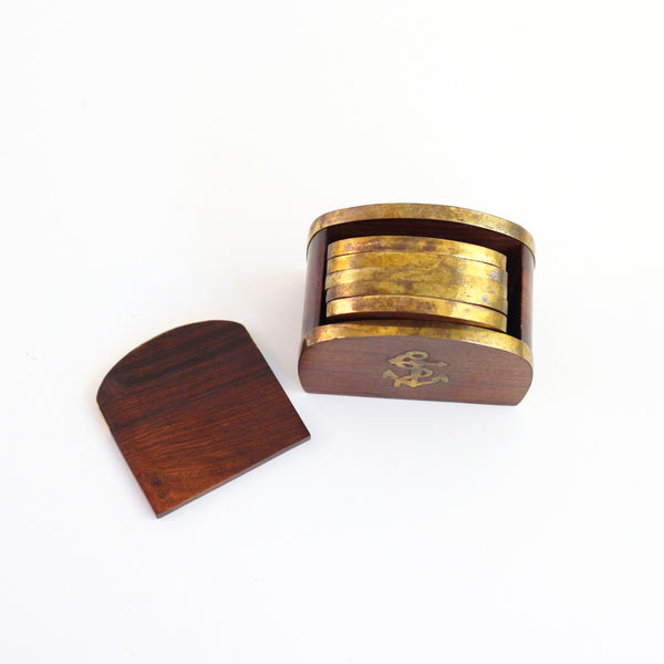 SOLD - Vintage Wood and Brass Anchor Drink Coasters Set