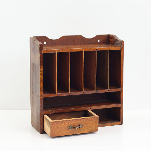 SOLD - Vintage Wood Desktop Mail Sorter