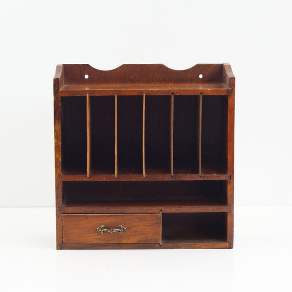 Vintage Wood Desktop Mail Sorter
