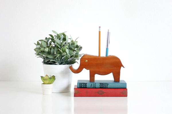 SOLD - Vintage Wooden Elephant Pen & Pencil Holder