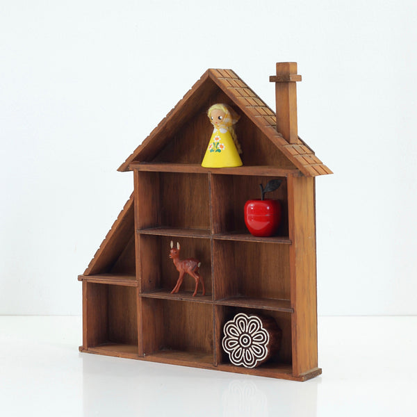 SOLD - Vintage Wood House Curio Display Shelf