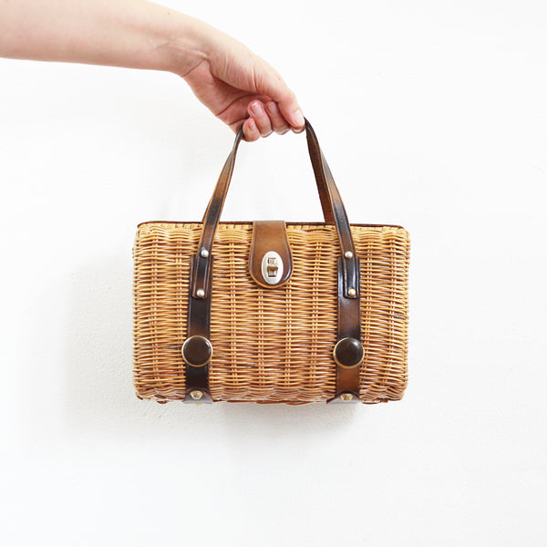 SOLD - Vintage Woven Basket Purse with Leather Accents