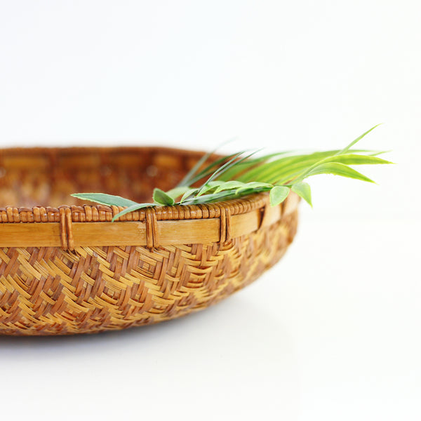 SOLD - Vintage Woven Geometric Basket Tray