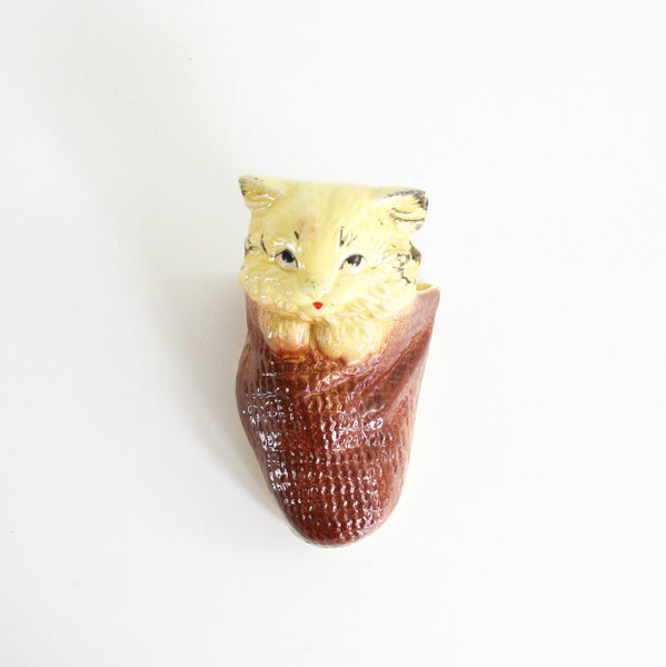SOLD - Vintage Yellow Ceramic Cat Wall Pocket / Vintage Kitty Wall Planter