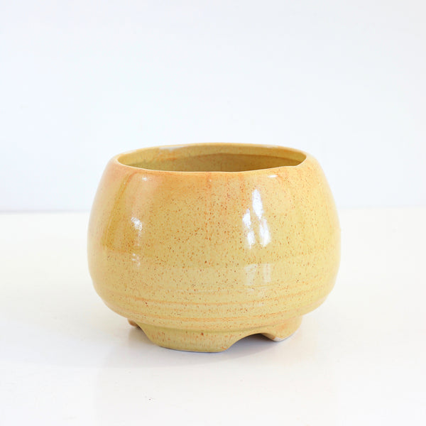 SOLD - Mid Century Mustard Yellow Footed Planter