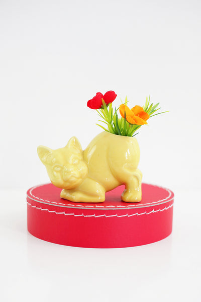 SOLD - 1940s Crouching Yellow Cat Planter by Morton Pottery
