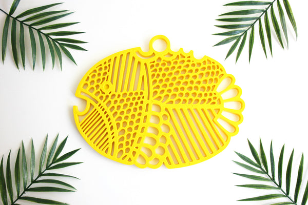 SOLD - Mid Century Modern Yellow Dansk Fish Trivet / Retro Trivet from Denmark