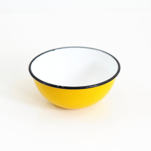 SOLD - Vintage Yellow Enamel Bowl