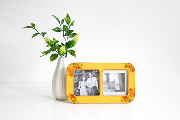 SOLD - Vintage Enamel Buckler's Picture Frame / Mid Century Yellow Roses Photo Frame