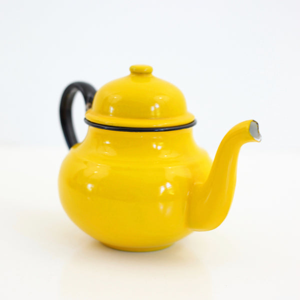 SOLD - Vintage Yellow Enamel Tea Kettle