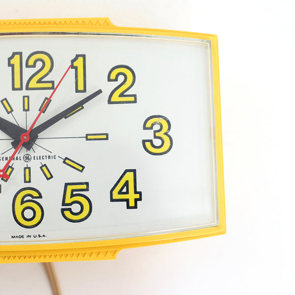 SOLD - Vintage 1960s Yellow General Electric Wall Clock