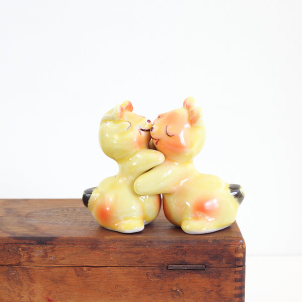 Vintage Yellow Hugging Bears Salt & Pepper Shakers
