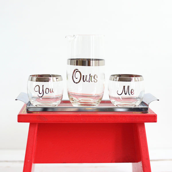 SOLD - Vintage Silver Rimmed You, Me, & Ours Cocktail Set