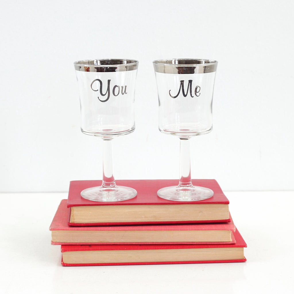 Vintage Silver Rimmed You & Me Wine Glasses