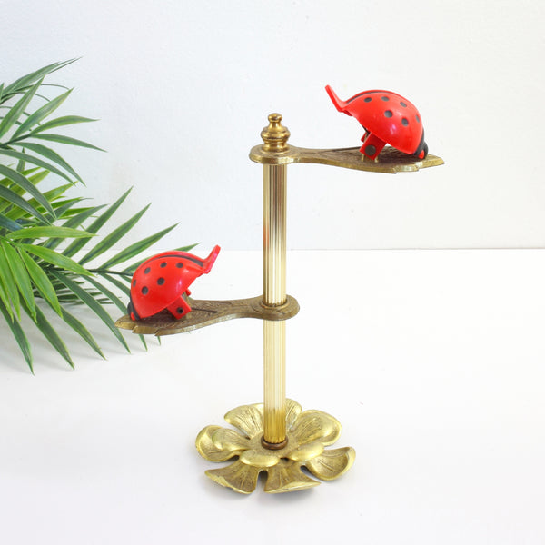 SOLD - Vintage Allied Brass Ladybug Clip Display Stand