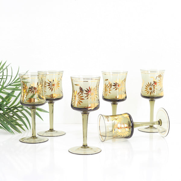 Set of Six Vintage Smoky Amber & Gold Romanian Sunflower Wine Glasses