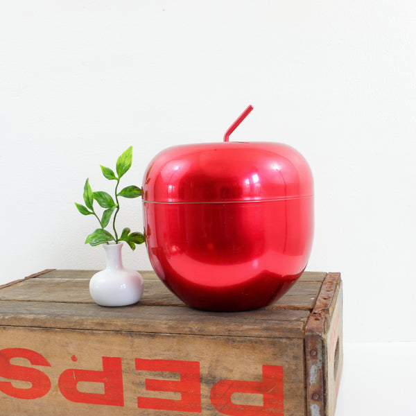 Vintage Anodized Aluminum Red Apple Ice Bucket