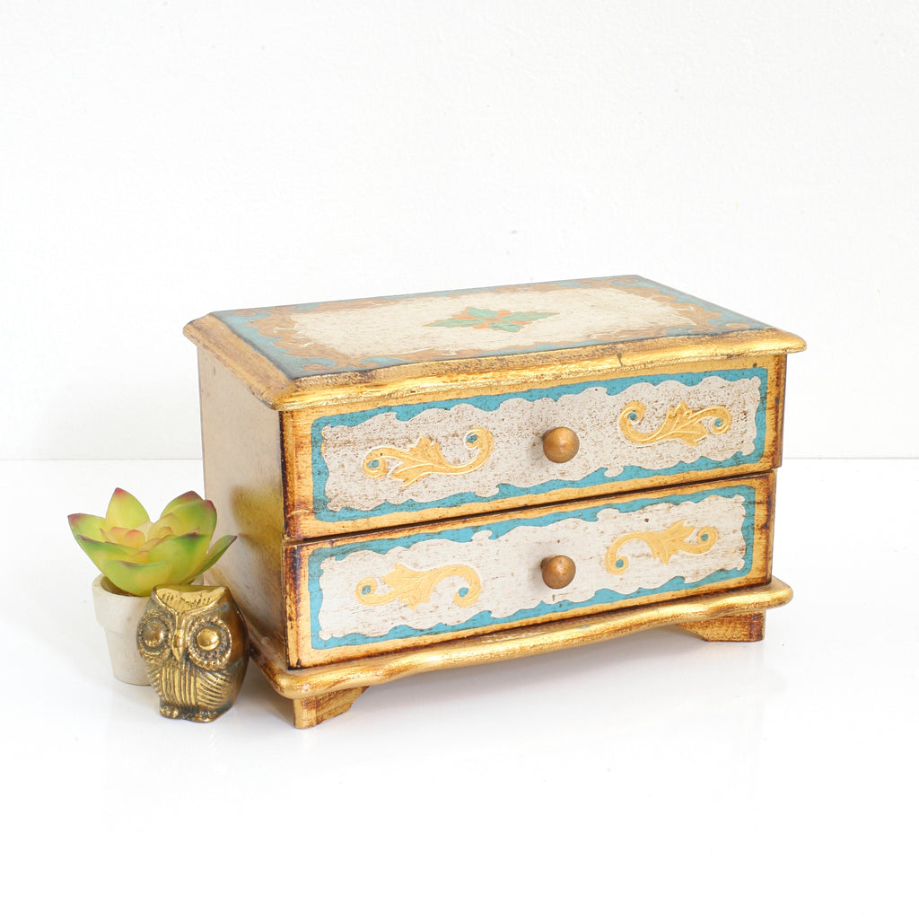 SOLD - Vintage Musical Florentine Jewelry Box in Aqua & Gold