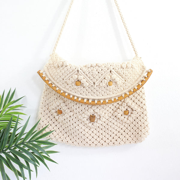 SOLD - Vintage Macrame Bag with Wooden Beads