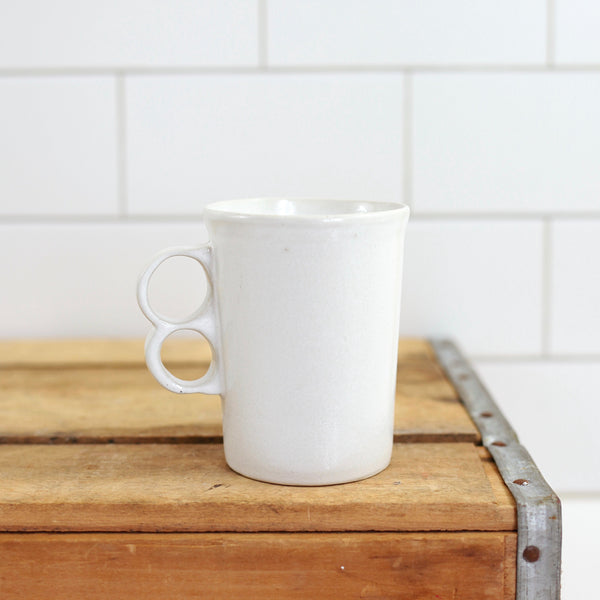 SOLD - Vintage Bennington Potters White Trigger Handle Mug