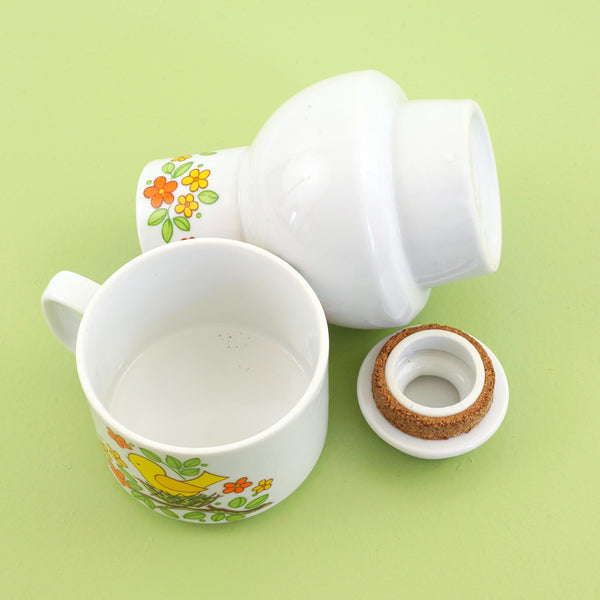 SOLD - Vintage Bird's Nest Stacking Mug & Hottle Bottle Set