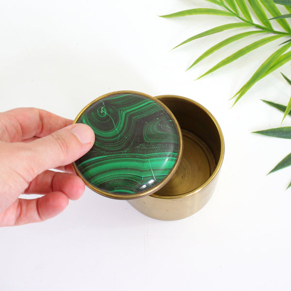 Vintage Brass & Malachite Trinket Box