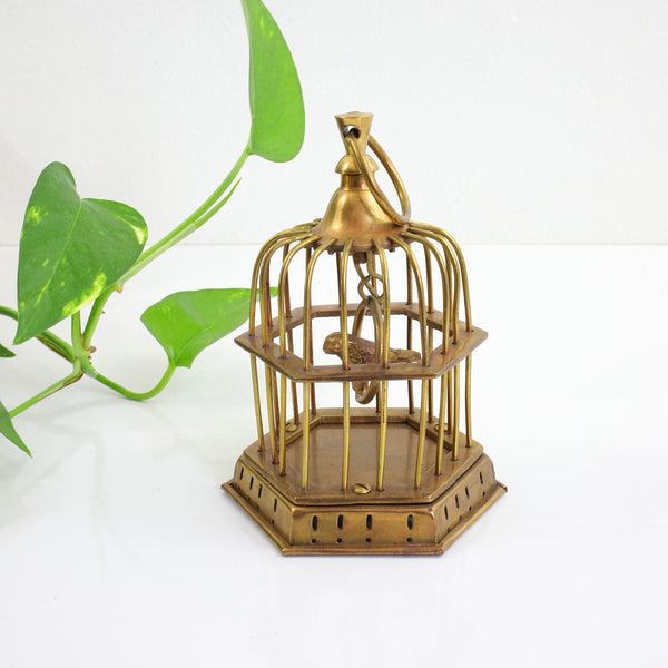 Vintage Brass Bird Cage with Tiny Brass Bird