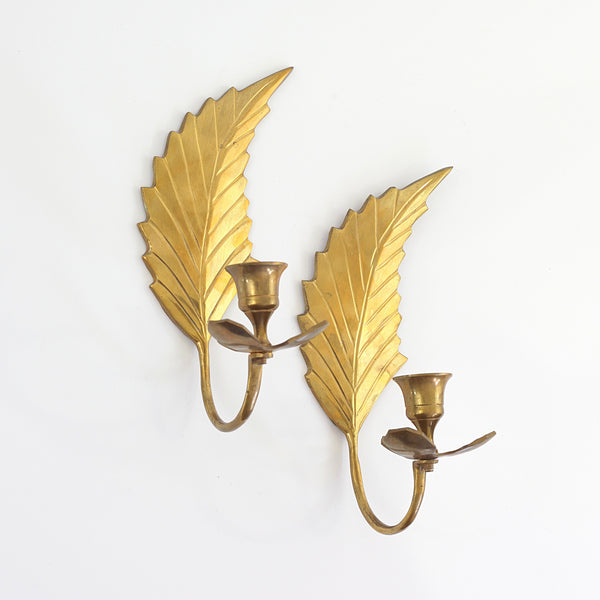 SOLD - Mid Century Modern Brass Leaf Wall Sconces