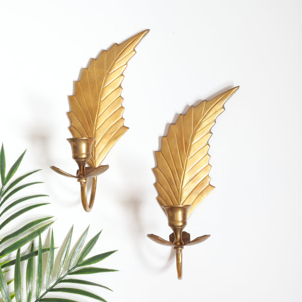 Mid Century Modern Brass Leaf Wall Sconces