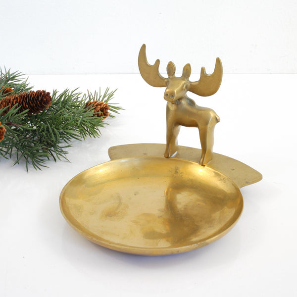Vintage Brass Moose Trinket Dish / Loyal Order of Moose Membership Appreciation Award