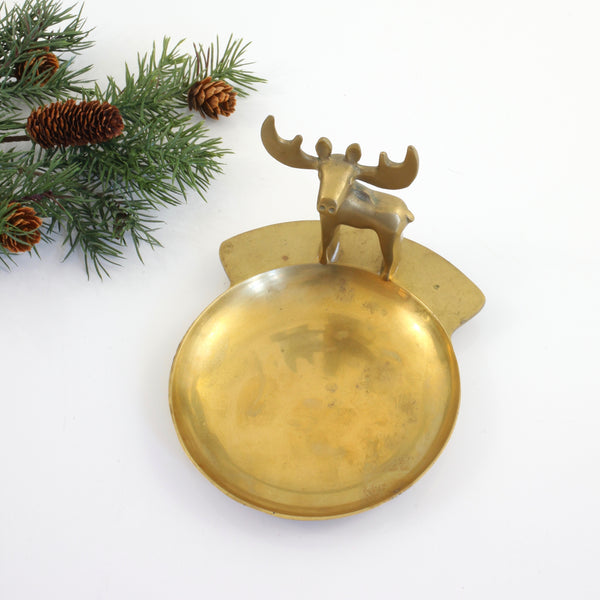 SOLD - Vintage Brass Moose Trinket Dish / Loyal Order of Moose Membership Appreciation Award