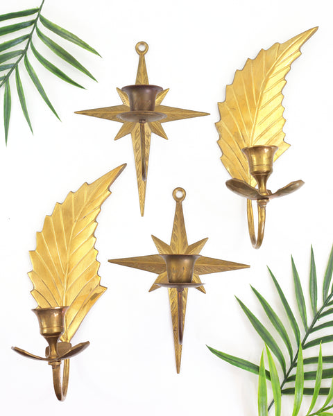 SOLD - Mid Century Modern Brass Starburst Wall Sconce Candle Holders